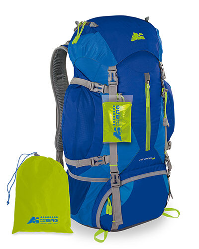 trekking backpack Nevada 40 in gray and royal colour with multiuse bag included